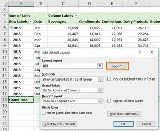 Import Pivot Table