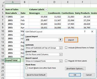 Import Pivot Table