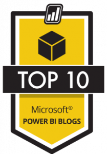 Badge voor Top 10 Microsoft Power BI-blogs