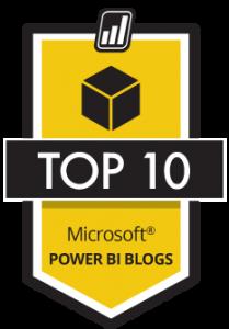 Badge voor Top 10 Microsoft Power BI-blogs