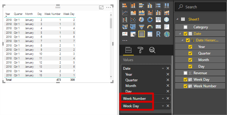 Working with Weeks in Power BI