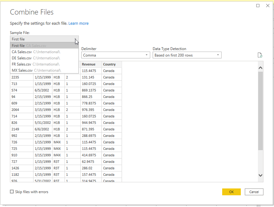 Power Bi Combined File Preview