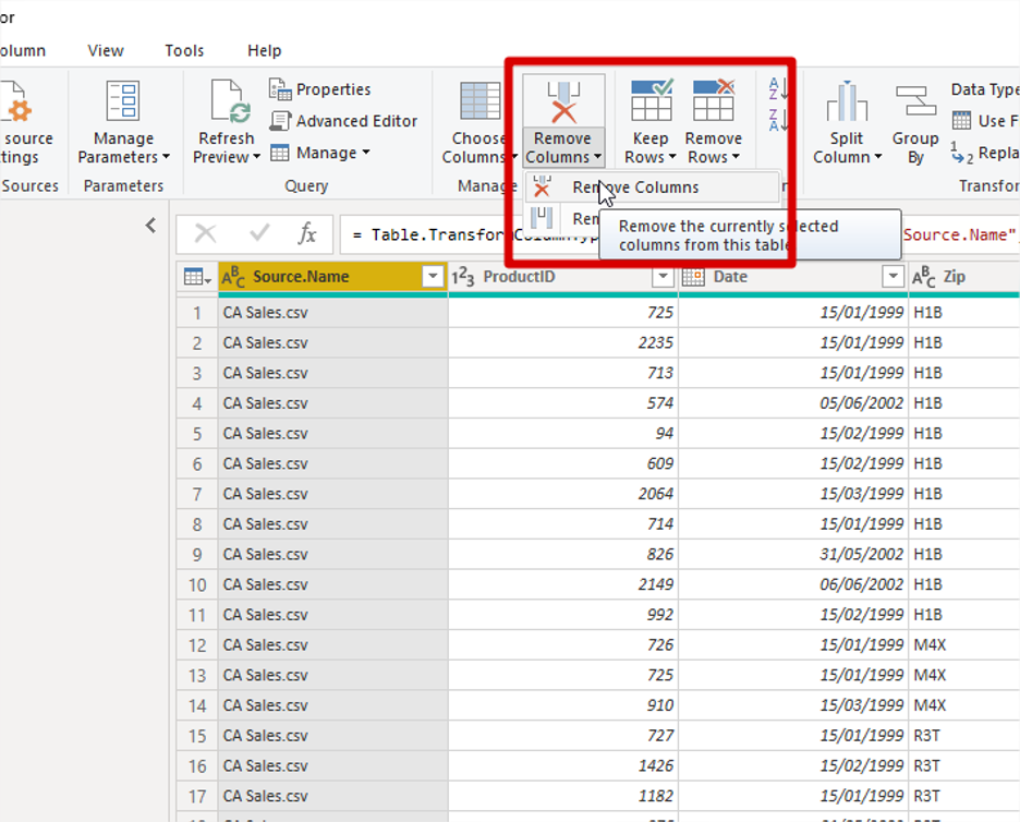 Power Bi Remove Columns