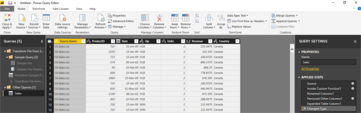Power Query Editor Table
