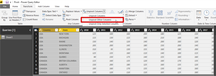 Power Bi Unpivot Column