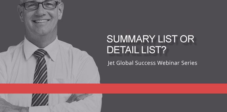 Jet Resource Success Webinar Summary List Or Detail List
