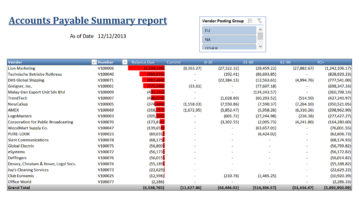 Nav019 Accounts Payable Summary Report