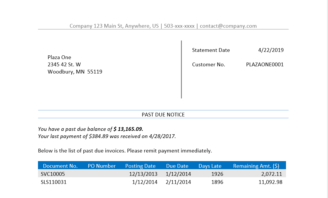 Past Due Notice In Word Insightsoftware