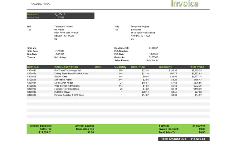 Nb072 Jet Reports Sample Sales Invoice