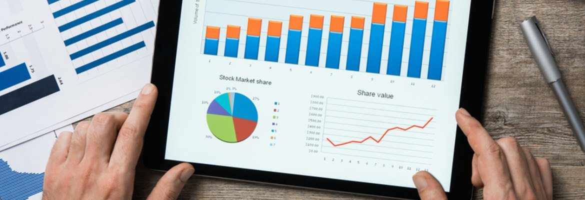 Tablet displaying charts and graphs.