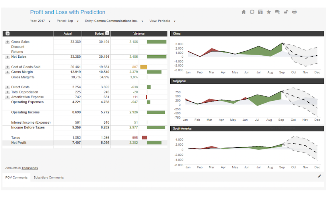 Profit And Loss With Prediction Example Dashboard