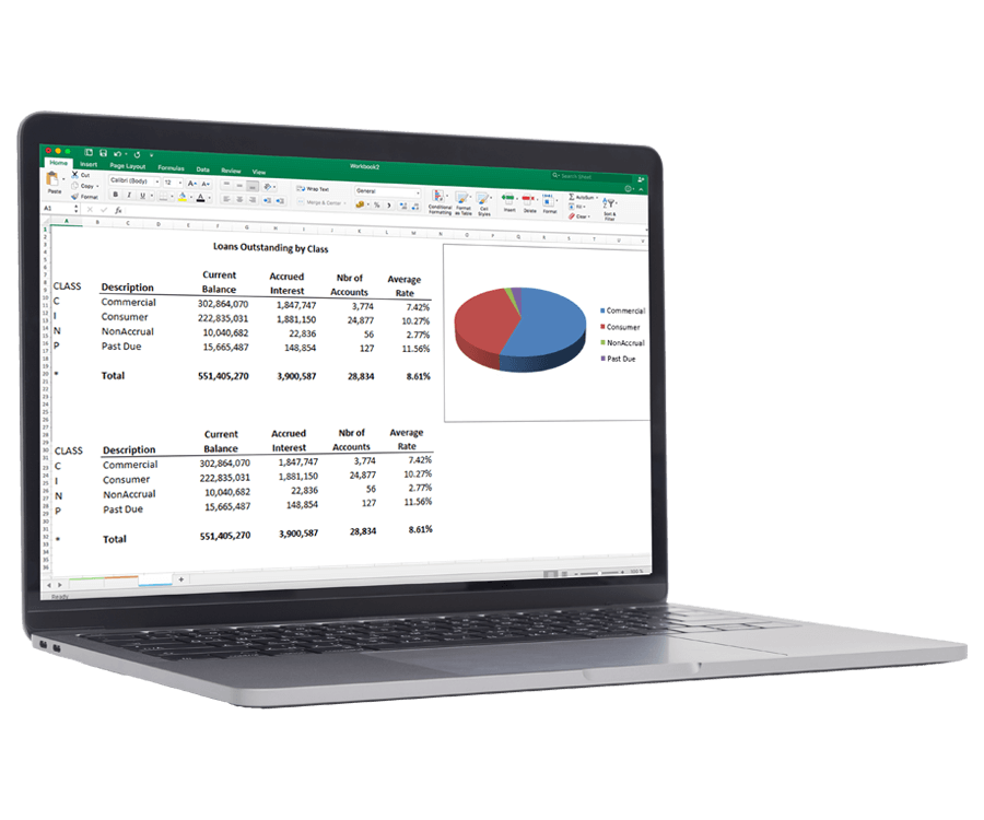 Real-time reporting software for banking and finance