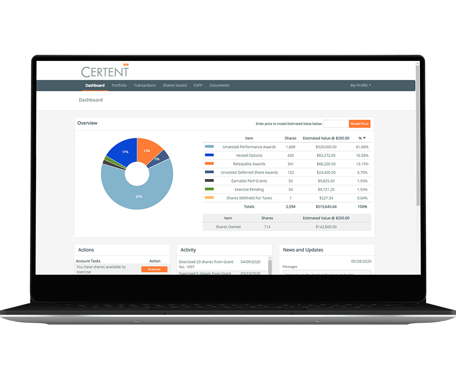 Certent Equity Management Self Service Participant Portal 1