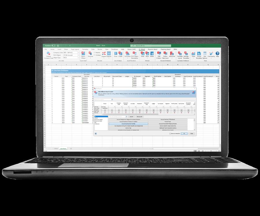 SAP Reporting in Excel Screenshot