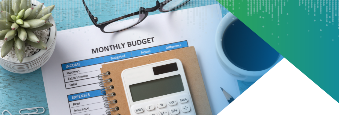 Calculator and budget document.